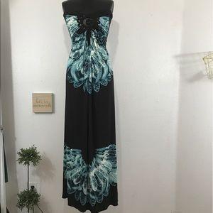 Sky Strapless Crotchet Detail Maxi Dress Sz S